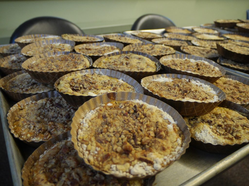 Pumpkin crunch cakes and other desserts were prepared in Berky Hall's kitchen and will be transported to the First Mennonite Church in Bluffton before the dinner Friday, November 11th.
